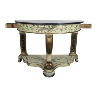 Hand Painted and Parcel Gilt English Console Table For Sale