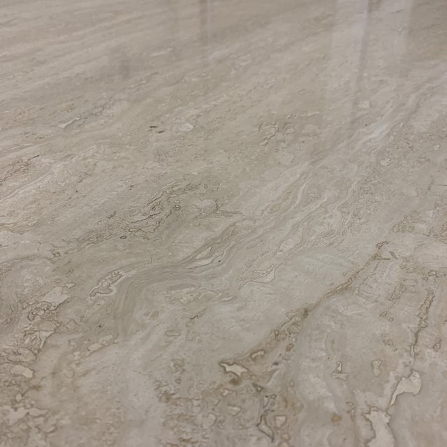 Italian Travertine Marble Dining Table For Sale - Image 9 of 13