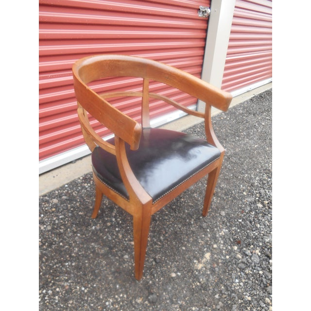 Very Nice Mid-Century Baker Furniture Studded Leather Asian Side Chair. This Asian inspired side chair is in excellent...
