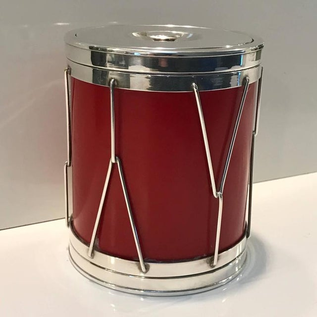 Aldo Tura Italian Modern Silver and Leather Ice Bucket For Sale - Image 4 of 8