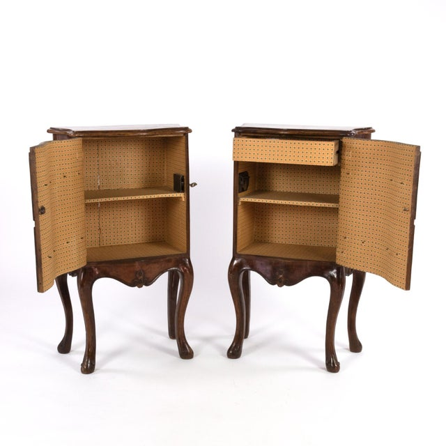 Brown 1890 Pair of Italian Walnut Bedside Tables With Carved and Ebonized Details, Each With Faux Drawer Front Single Doors For Sale - Image 8 of 13