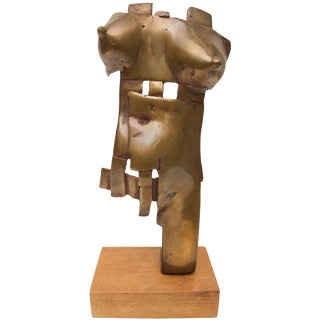 Brutalist Nude Female Torso Bronze Sculpture C. 1996 Artist Signed For Sale