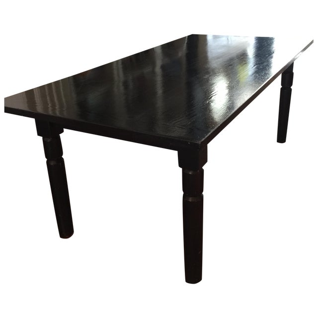 Black Lacquered Solid Oak Dining Table - Image 1 of 5