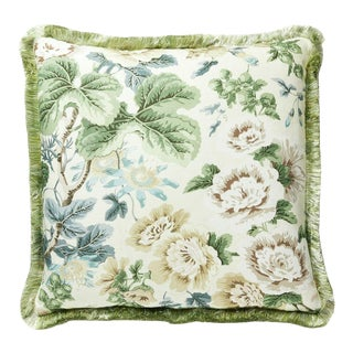 Highgrove Linen Print Pillow in Cream For Sale