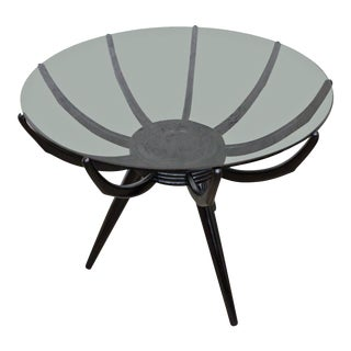 Italian Modern Round Black End Table by Carlo De Carli For Sale