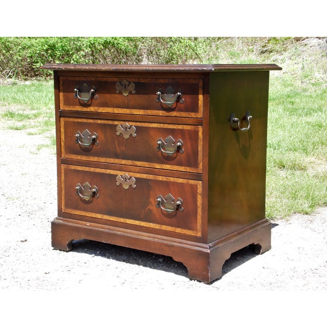 Vintage English Provincial style Mahogany Banded Chest End Table Night Stand Bachelor Chest of Drawers features 3 spacious...