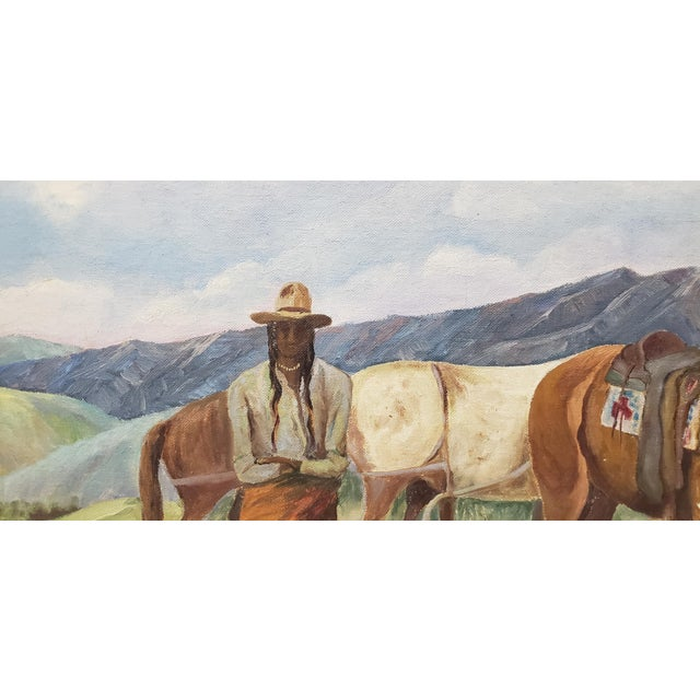 "Blue Vintage American West Oil Painting ""Lunch Time"" by William Metter C.1940s For Sale - Image 8 of 11"