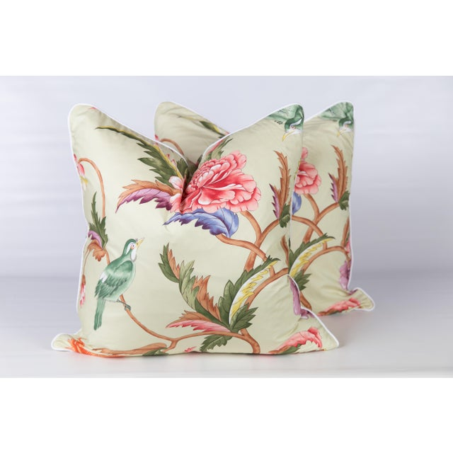 Brunschwig & Fils Chinoiserie Brunshwig & Fils Leshan Bird Pillows - a Pair For Sale - Image 4 of 4
