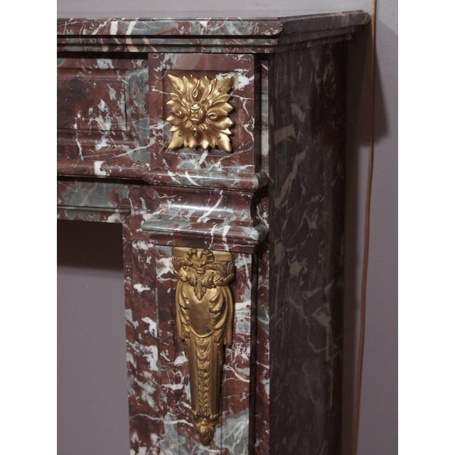 Antique French Bronze Mounted Marble Mantle For Sale - Image 4 of 5