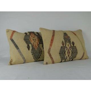 Turkish Kilim Lumbar Pillows - a Pair Preview