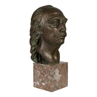 Late 20th Century Bronze Bust of Salvador Dali Sculpture For Sale