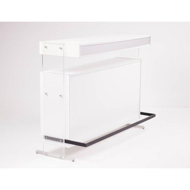 Architectural Dry Bar with Acrylic Uprights by Poul Nørreklit For Sale - Image 10 of 10