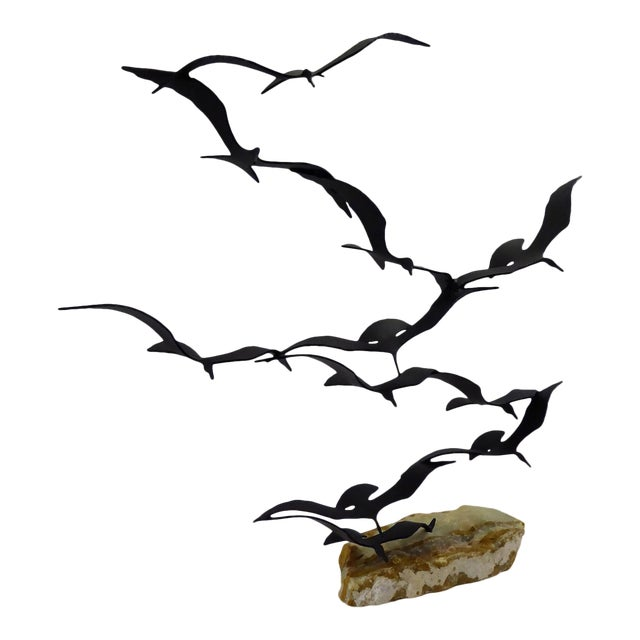"Bijan ""Flock of Seagulls"" Kinetic Metal Sculpture For Sale"