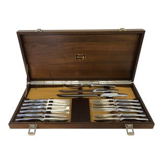 Mid-Century Carvel Hall Cutlery Set Walnut Case Excellent For Sale