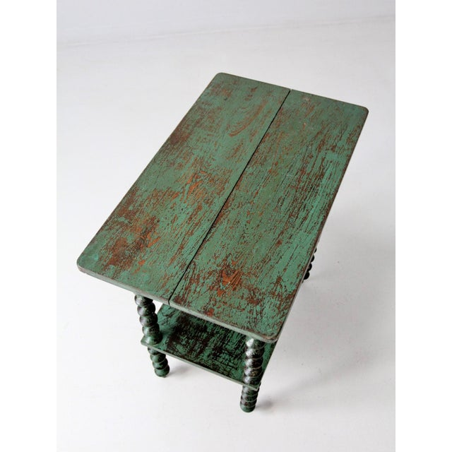 Wood Antique Folk Art Spool Table For Sale - Image 7 of 9