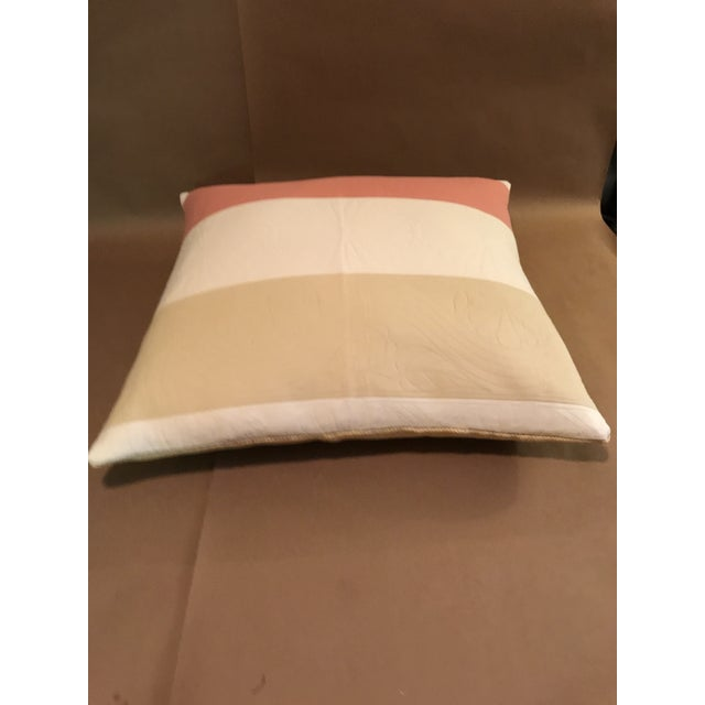 2010s Boho Chic Pillow in Pierre Frey Pink and Cream Stripes For Sale - Image 5 of 6