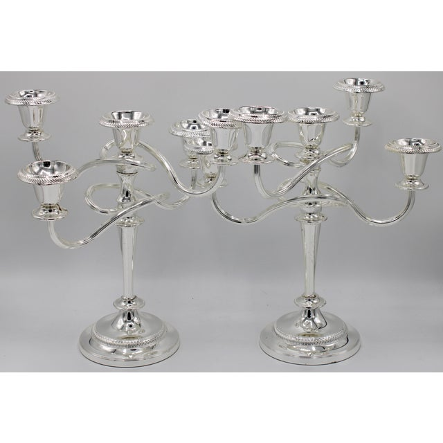 English Late 19th Century English Silver Plated Candelabras - a Pair For Sale - Image 3 of 10