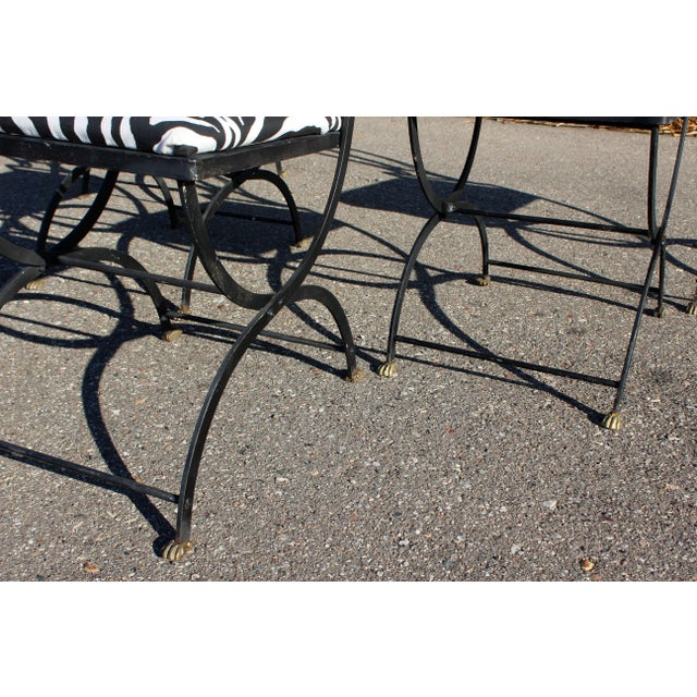 1940s Art Deco Italian Wrought Iron Lyre Swan Set 5 Dining Chairs & Table by Copelon For Sale - Image 5 of 11