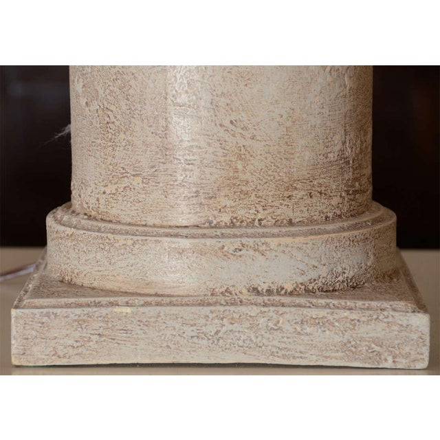 Greige Textured Cylinder Lamps - A Pair - Image 4 of 5