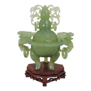 Boxed Vintage Japanese Jade Green Tripod Censor With Dragon Handles & Stand, Boxed For Sale
