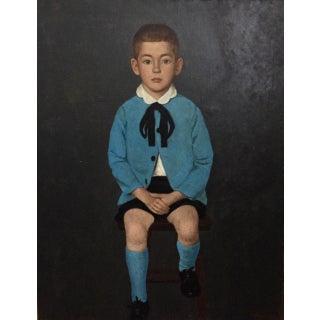 Vintage Portrait Little Boy in Blue-Original Oil on Canvas-1950's For Sale