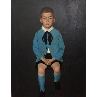 Vintage Portrait Little Boy in Blue-Original Oil on Canvas For Sale