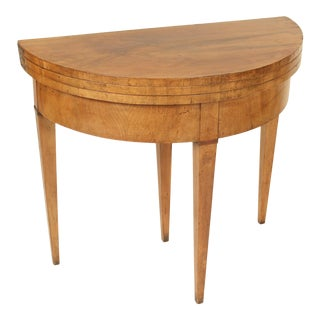 Directoire Fruit Wood Demi Lune Games Table For Sale