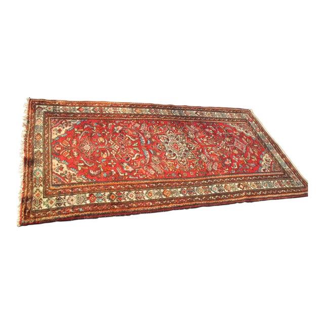 Vintage Red Floral Wool Persian Rug - 3′1″ × 6′1″ - Image 1 of 11