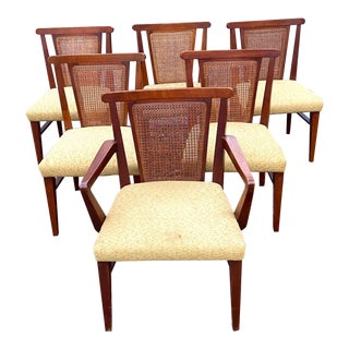 1960s Vintage Drexel Cane & Walnut Dining Chairs - a Set of 6 For Sale