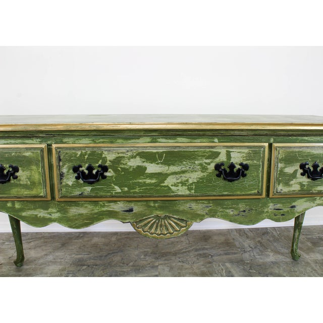 1960's Queen Anne Style 3-Drawers Green Console Table For Sale - Image 9 of 12