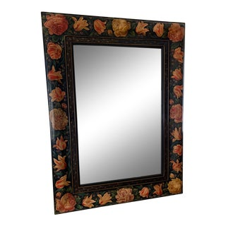 Julia Gray Hand Painted Floral Mirror For Sale