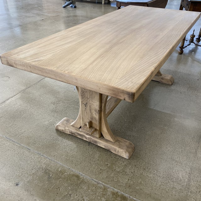 French Bleached Walnut Trestle Table For Sale - Image 4 of 13