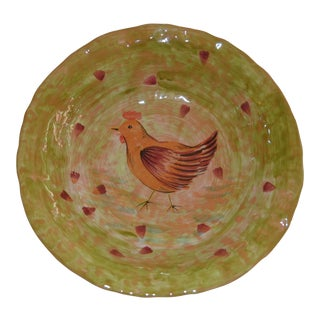 1990s Crate & Barrel Italian Rooster Bowl For Sale