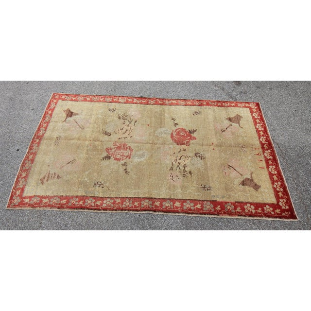 Vintage Tribal Antique Turkish Oushak Hand Knotted Rug - 4'5 X 7'8 For Sale - Image 4 of 6