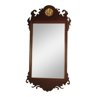 Vintage Federal Mahogany Mirror with Reverse Painted Glass Panel For Sale