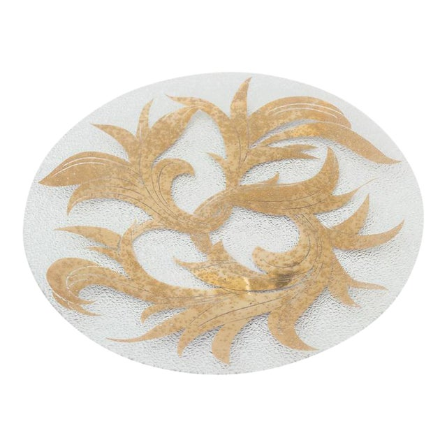 Dorothy Thorpe 22k Gold Scroll Pebble Glass Small Platter For Sale