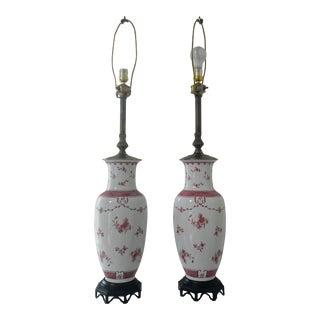 Antique French Porcelain Vase Lamps - a Pair For Sale