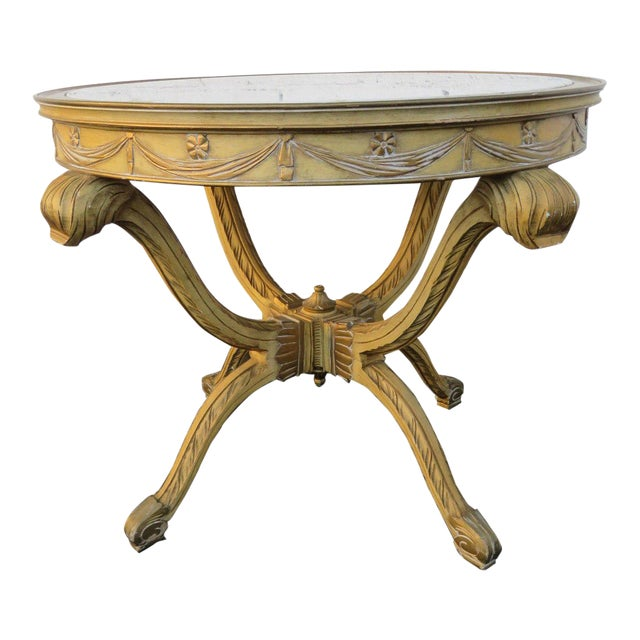 French Painted Heavy Carved Marble Top Large Center Table For Sale