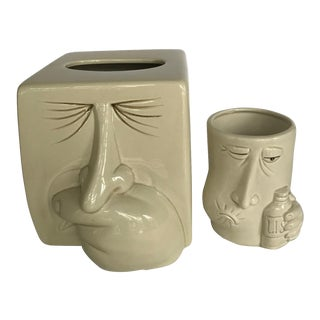 1980s Vintage Fitz & Floyd Tissue Box Holder & Cup For Sale