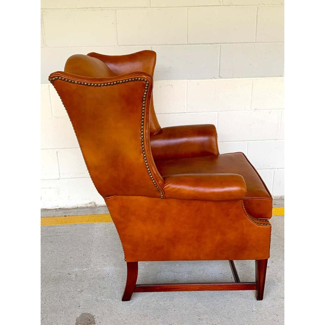 English Saddle Leather Mahogany Wingback Chair For Sale In Atlanta - Image 6 of 9