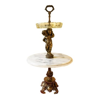 Hollywood Regency Brass Base & Cherub Centerpiece Marble Table and Ashtray