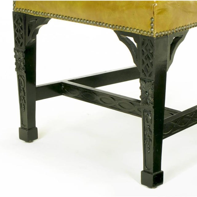 Eight Chinese Chippendale Ebonized Mahogany Dining Chairs with Leather Seats - Image 8 of 10