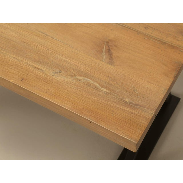 2010s Industrial Inspired Kitchen Table From French White Oak and Steel For Sale - Image 5 of 10