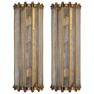 Italian Art Deco Crystal Murano Glass Half Moon Bronze Finish Sconces - a Pair For Sale