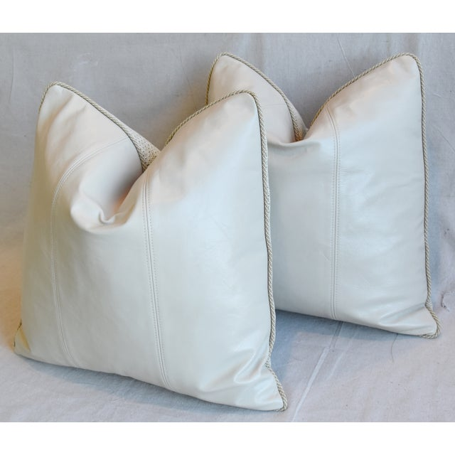 """Animal Skin Creamy Italian Tanned Leather Feather/Down Pillows 21"""" Square - Pair For Sale - Image 7 of 13"""