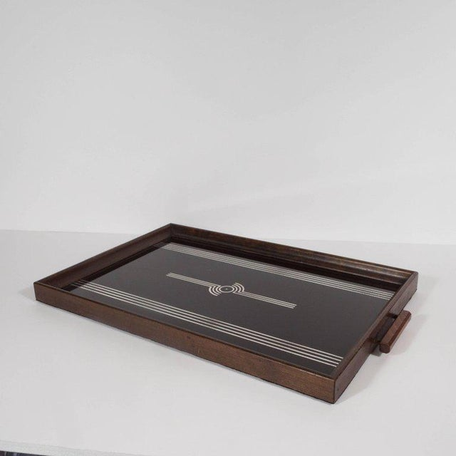 Art Deco Machine Age Streamlined Sterling Silver Glass Tray, Walnut Perimeter For Sale - Image 4 of 11