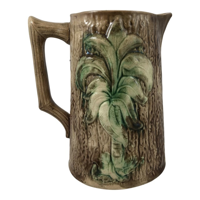 Tree Motif Majolica Pitcher For Sale