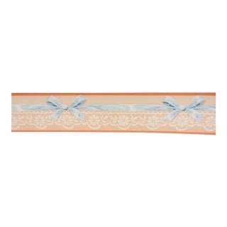 Vintage Roll Wallpaper Border Lace & Ribbons For Sale