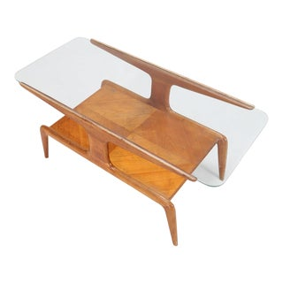 Gio Ponti Coffee Table in Ash and Glass Top For Sale