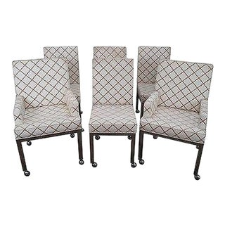 Milo Baughman Mid Century Set of 6 Chrome Dining Chairs For Sale